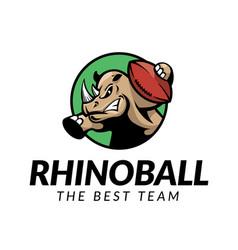rhino football logo vector image