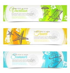 Travel and vacation hand drawn banners vector image vector image
