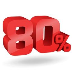 80 percent digits vector image vector image
