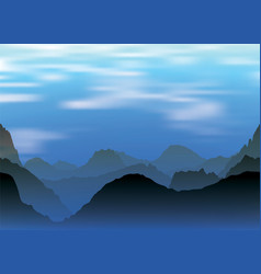 landscape of snowy mountains and fog at evening vector image