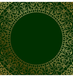 oriental ornament on green background vector image vector image