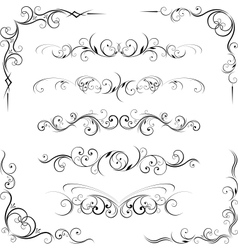 ornate corners and page dividers vector image