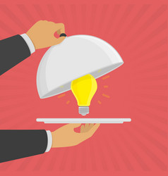 platter cloche with light bulb vector image vector image