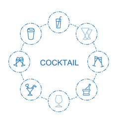 8 cocktail icons vector
