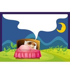 A girl sleeping in a bed vector image