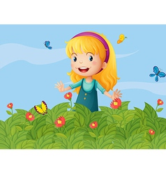 A girl with butterflies at the garden vector