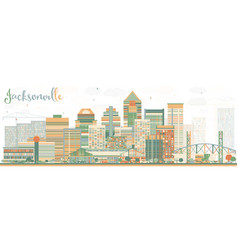 abstract jacksonville skyline with color buildings vector image