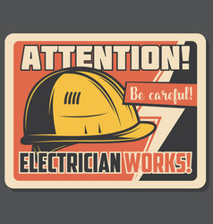 Attention banner with precaution about electricity vector