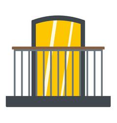 balcony with iron railing i icon isolated vector image