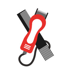 barbershop comb with hairdressing machine vector image