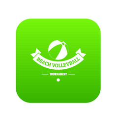 beach volleyball icon green vector image