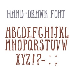 Bold hand-drawm font in the western style vector