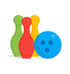 bowling pins and one ball isolated with clean vector image
