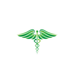 caduceus medical emblem logo vector image
