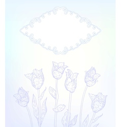 card with hand drawn tulips on light blue vector image