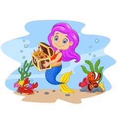 Cartoon funny mermaid holding treasure chest vector image