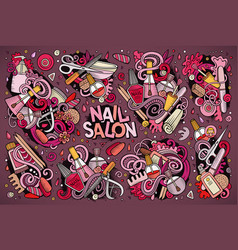 Cartoon set of nail salon theme doodles vector