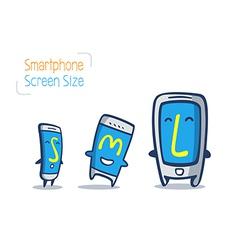 cartoon smart phone size comparison vector image