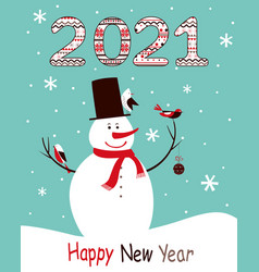 christmas card 2021 with a snowman and birds vector image
