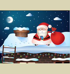 Christmas card santa carries gifts to their homes vector