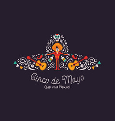 Cinco de mayo mariachi hat card with culture icons vector