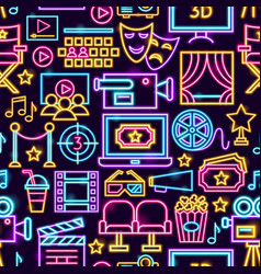 cinema film neon seamless pattern vector image