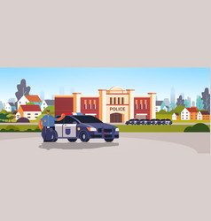 city police station department building with vector image