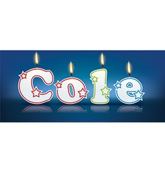 COLE written with burning candles vector