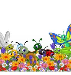 collection of insects in the flower garden vector image