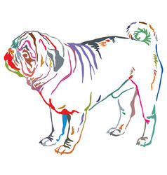 colorful decorative standing portrait of dog pug vector image vector image