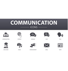 communication simple concept icons set contains vector image