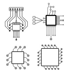 Computer chip icons set accessories for digital vector