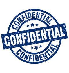 Confidential blue round grunge stamp vector