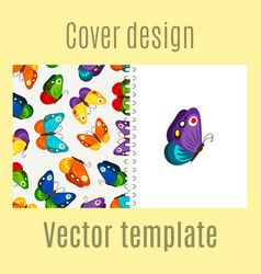 Cover design with butterflies pattern vector