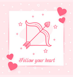 cupids bow arrow valentine card love text vector image
