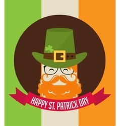 Cute cartoon leprechaun with beer St Patricks vector image