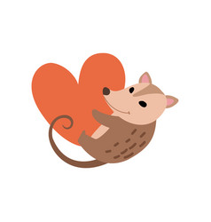 Cute opossum holding big red heart adorable wild vector