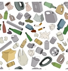 Different kinds of garbage Seamless pattern vector