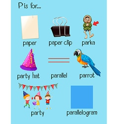 Different words begin with letter P vector