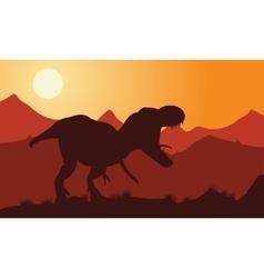 Dinosaur tyrannosaurus silhouette vector image
