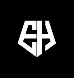 eh logo monogram with pentagon shape style design vector image