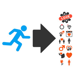 Exit direction icon with dating bonus vector