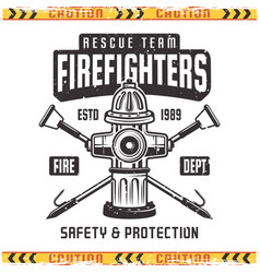 Firefighter retro emblem with fire hydrant vector