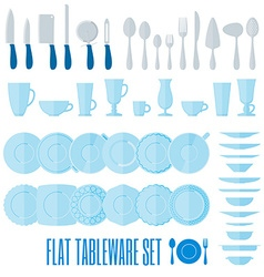 Flat style tableware big icon set isolated on vector image