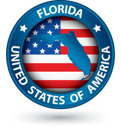 Florida state blue label with state map vector image