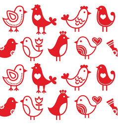 folk art birds seamless pattern vector image