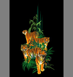 Four graphic tigers standing walking and roaring vector
