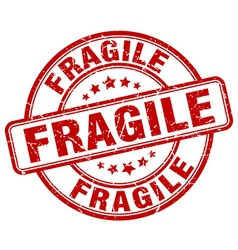 Fragile red grunge round vintage rubber stamp vector
