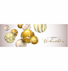 German christmas web banner of gold ornaments vector