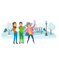 Girl with phone in hand making selfie with girls vector